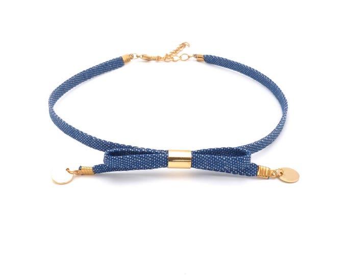 Jeans Choker Halskette Schleife