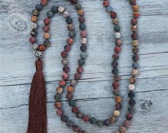 Mala Halskette - Jaspis 108 Perlen Bronze