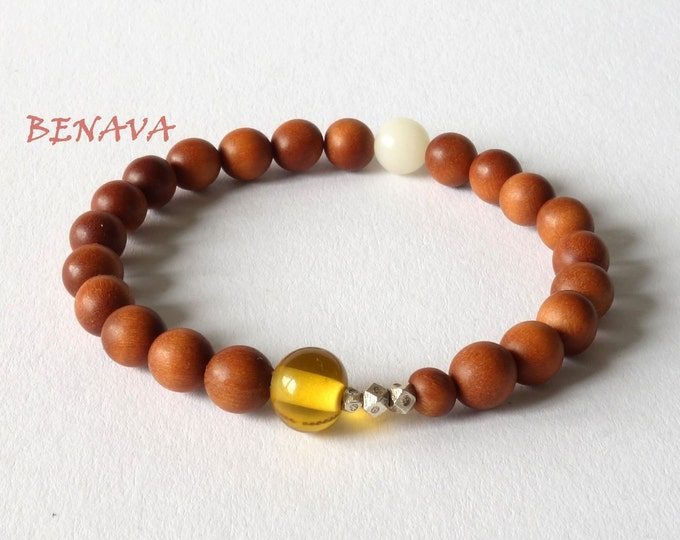 Bracelet sandalwood beads 925st silver Brown