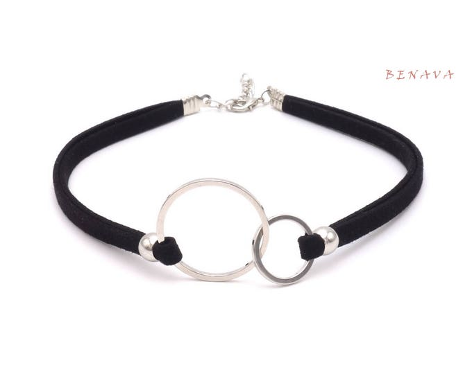 Choker necklace collar double rings black silver