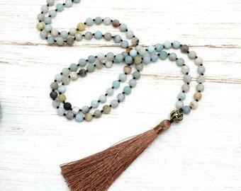 Mala Kette - Amazonit Kupfer 108 Perlen