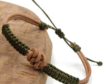 Tibet Armband - Leather Grün