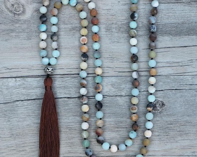 Mala Halskette - Amazonit 108 Perlen Blau