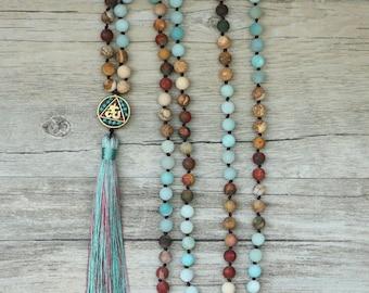 Mala Halskette - Amazonit 108 Perlen