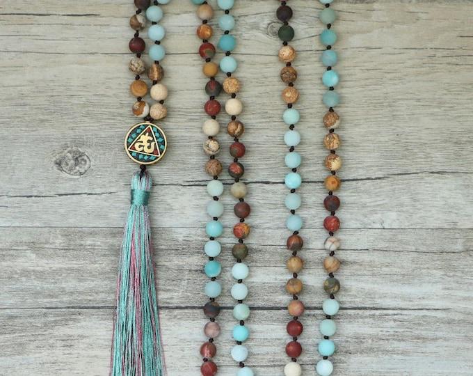 Mala Halskette - Amazonit 108 Perlen Blau Anhänger