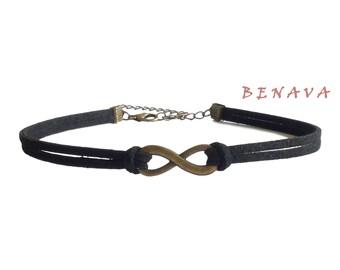 Choker chain infinity pendant black bronze