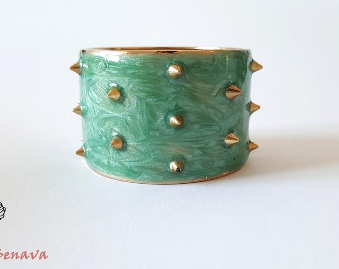 Bracelet vintage punk turquoise gold studs bracelet