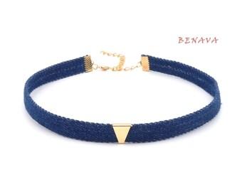 Ladies denim jeans choker necklace adjustable Necklace Blue Gold 32-40 cm