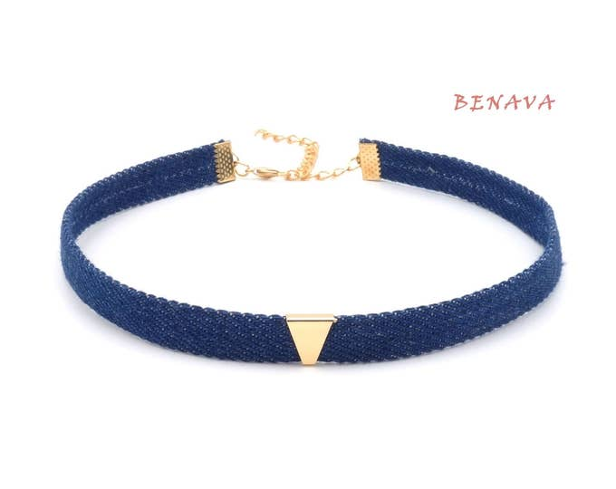 Ladies denim jeans choker necklace adjustable Necklace Blue Gold 32-40 cm