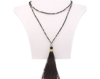 Buddha necklace pendant and tassel black