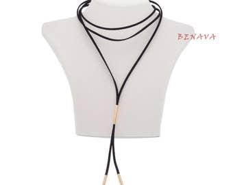 Choker necklace collar adjustable black gold