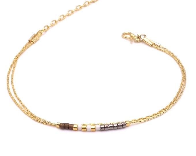 Armband - Seed Bead Silber