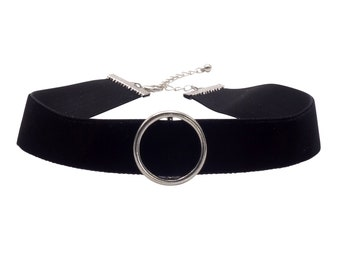 Choker velvet necklace with Ring black silver
