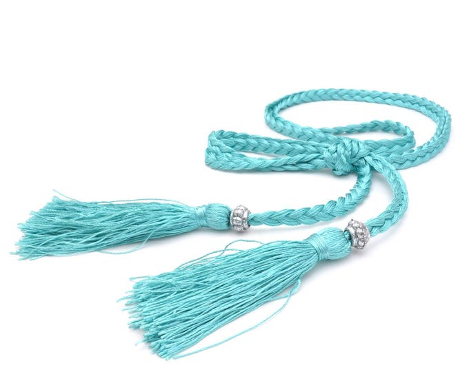 Vintage fabric belt braided Turquoise Silver - ladies garter belt with tassel