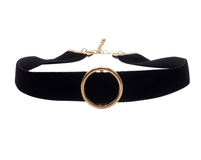Choker velvet necklace with ring black gold