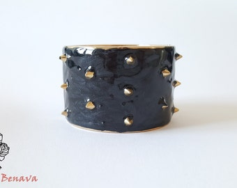 Bracelet vintage punk black gold studs bracelet