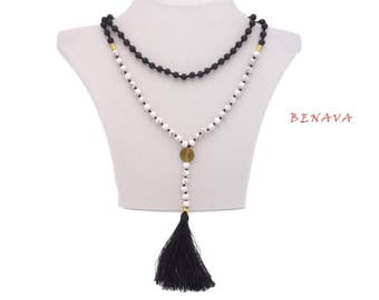 Necklace Lava stone Beads tassel Black Gold