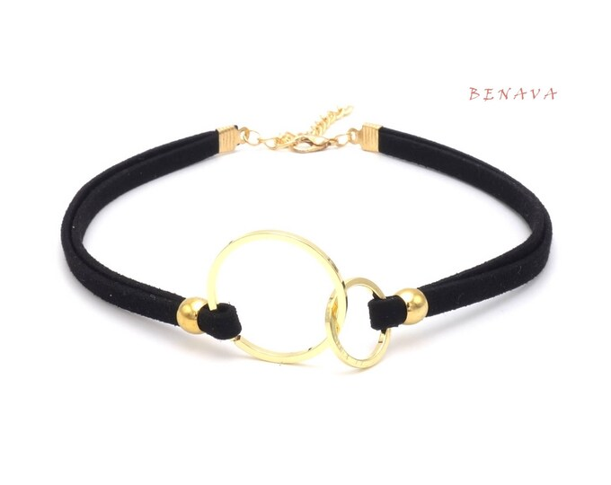 Choker necklace collar double rings black gold