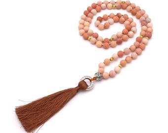Boho Halskette aus Rosa Aventurin Perlen