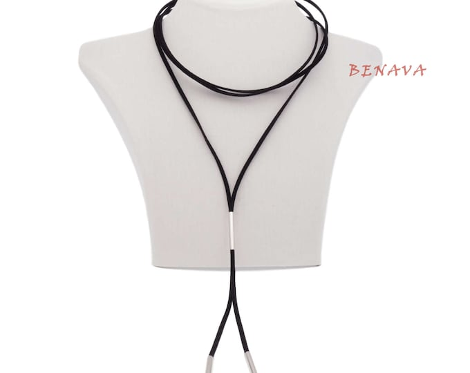 Choker necklace collar adjustable black