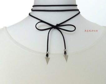 Choker necklace silver geometric triangle