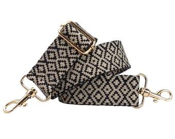 BENAVA Pocket Strap Shoulder Strap Black White Plaid Adjustable Cotton 40mm Carabiner – Stylish Accessory for Pocket Handbags