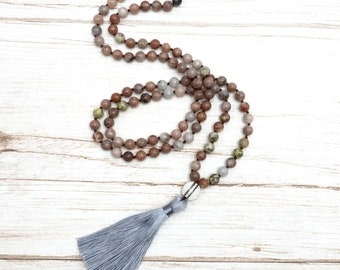 BENAVA Women's Mala Necklace made of jasper gemstone beads | Boho Style Jewelry with Copper Lotus Pendant and Tassel | Handmade Chakra Bead Necklace