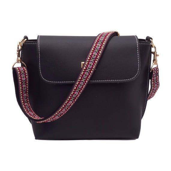 Tas riem schouderband multi gekleurd voor tassen handtassen gekleurde schouderriem met etnische patronen en module haak zwart verstelbaar