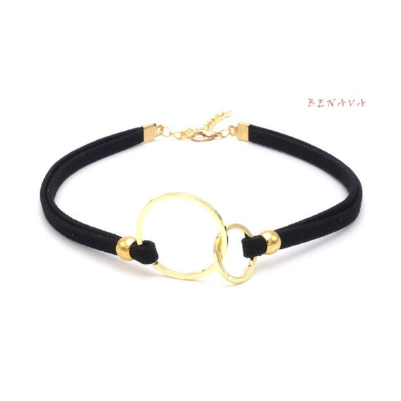 0a746fc40 Choker necklace collar double rings black gold