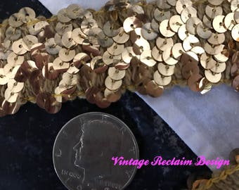 "Wholesale Lot—2 yards (6 ft) Vintage Gold Sequin Metallic Trim Ribbon—1-1/2"" Wide Fancy Antique Gold—Old Store Stock"