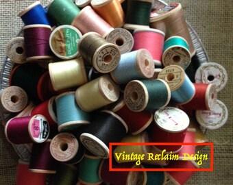 Vintage (25) Wood Thread Spools Complete