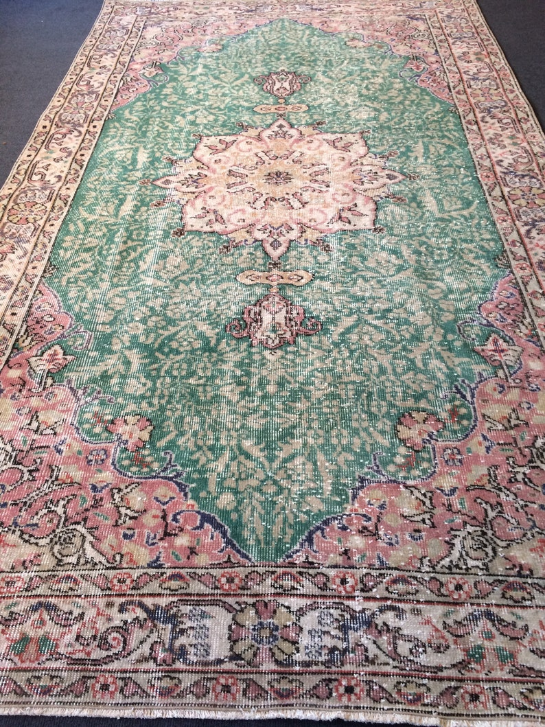 Green Pink Large Area Rug Pastel Colors Vintage Rug Hand Made Oushak Rug Distressed Colors Rug Earth Tones Rug Wool Pile Home Bohemian Decor