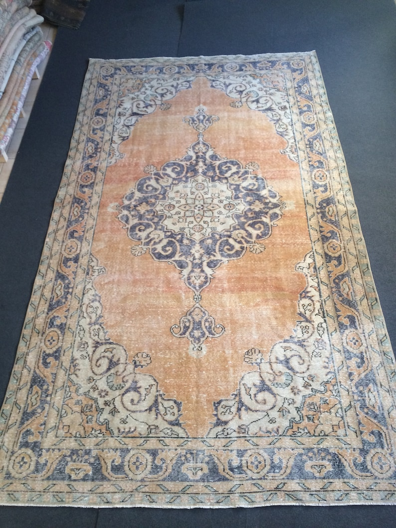 Over Sized Oushak Rugs Area Rug Pastel Color Vintage Rug Hand Made Oushak Rug Distressed Color Rug Earth Tones Rug Turkish Rugs