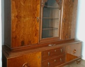 Antique Circa 100 Year Old Showcase Living Room Cabinet Bookcase Oak Walnut Veneer Art Deco 20s 30s Vintage Buffet