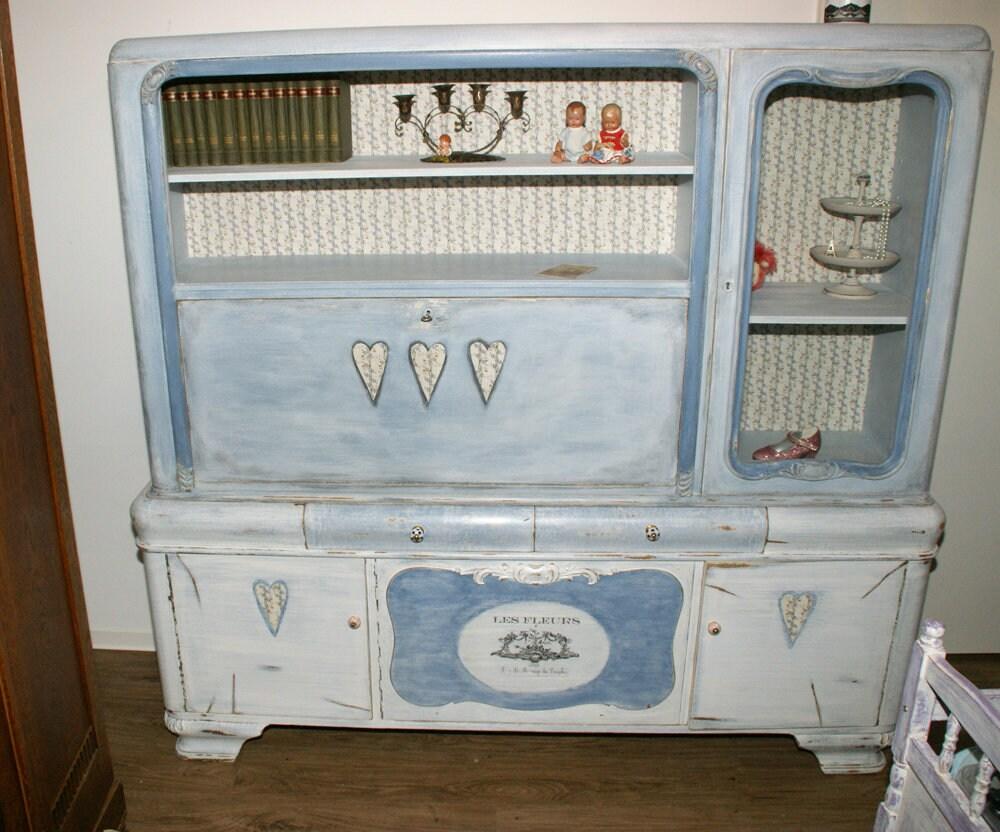 Shabby Chic Writing Cabinet Vitrine Heart Blue Blue Romantic Etsy