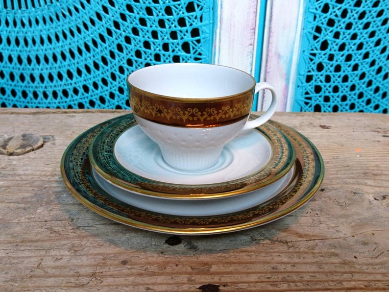 Original germany Vintage Kahla Porcelain made in gdr 70s/' vintage collection deck Boheme collection cup gold white Table Decoration country House