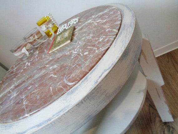 Shabby Chic Tisch Wohnzimmertisch Art Deco 20\'iger landhaus country french  aus voll-holz marmor-Tischplatte rund weisser Beistelltisch