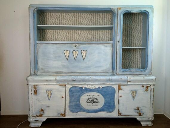 Shabby Chic Vintage Schreibschrank Schrank Vitrine Herz Blau Weiß  Romantisch Wohnwand Landhaus boheme Buffet