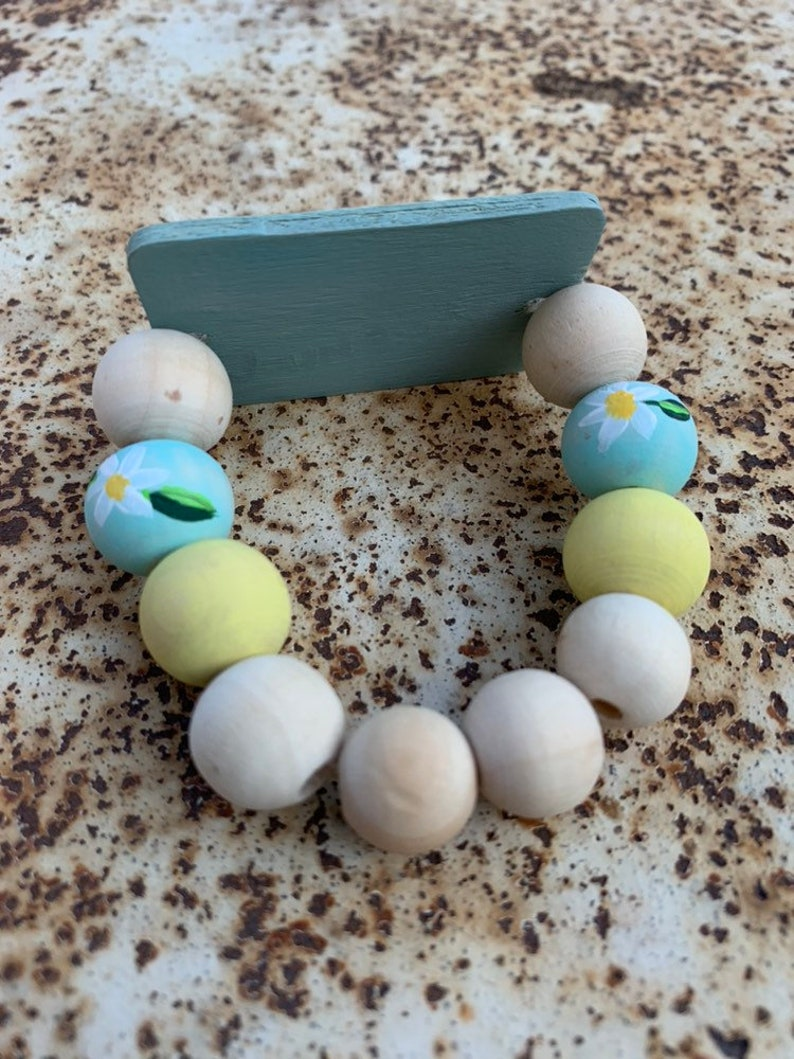 Hand-Painted Wood Bead Bracelet Fly Free Handmade Statement Bracelet Bird Painted Wood Beads Gift Jewelry Essential Oil Jewelry