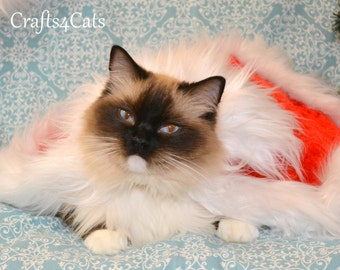 Christmas cat costume / Red cape with white fur trimming - cape for dog or cat / red cape for cat,  cape, fancy costume for cat