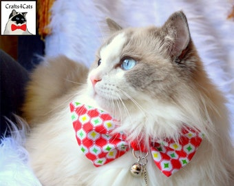 Large Christmas bow tie for cats / Christmas bow tie for large cats / Cat collar bow / Christmas bow cat / Christmas gift for cat