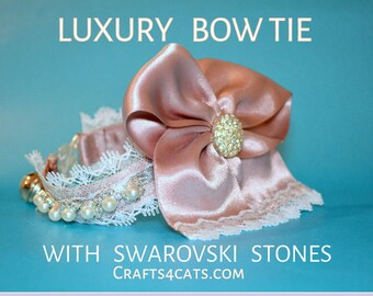 Cat Bow Tie & Real Crystals Collar  - Fancy Cat Bow Tie with Faux Pearls and Swarovski Crystals - Pink Satin Bow Tie - Cat Wedding Bow Tie