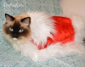 Cat Halloween costume - cape with white fur trimming - cape for dog or cat / red cape for cat,  cape, fancy costume for cat