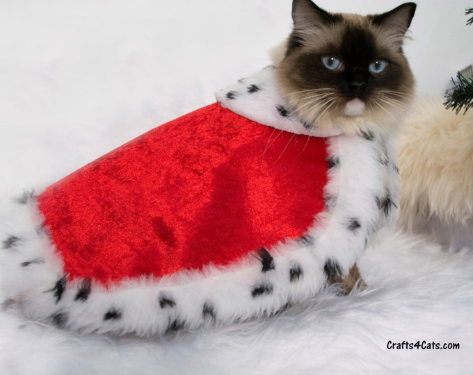 Featured listing image: Royal Cat Costume - Royal Velvet Cloak Costume for Cats with Ermine faux fur - Royal Cloak Dogs - King cat costume - pet  costume