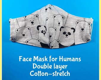 Face mask 'Pandas', face mask cute, adult face mask, double layer cotton face mask, washable facemask
