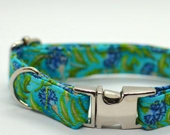 Carnation cat collar non breakaway // floral cat collar// kitten collar /dog collar breakaway/ green blue cat collar / metal