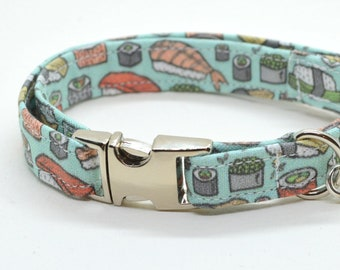 Collar 'Sushi-Meshi' (non breakaway) / cat collar, kitten collar, cat collar with fish charm, cat collar with bell / CRAFTS4CATS