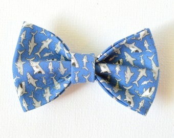 Slide on Sharks bow tie // fish bow tie for collars, removable bow tie, cat bow tie collar, Crafts4Cats