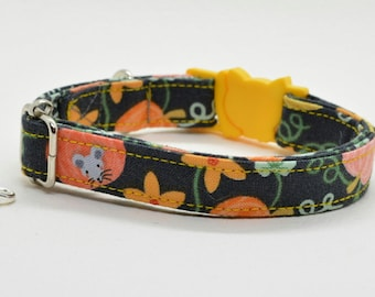Cat collar 'Magic Garden' (breakaway), breakaway cat collar, kitten collar, orange cat collar, automn/fall dog collar, Crafts4Cats
