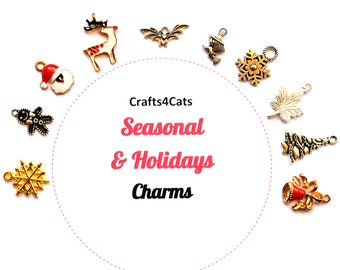 Christmas collar charms for cat collars, kitten collars, dog collars charms
